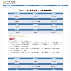 プリウスの自動車保険料(任意保険料)